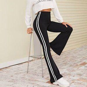 SHEIN High Waisted Flare Leg Stripe Track Pants XS